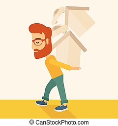 Man carrying house and car.