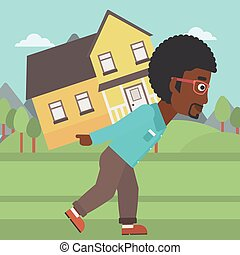 Man carrying house vector illustration.
