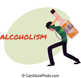 Man carrying huge liquor bottle on his back, alcohol dependence