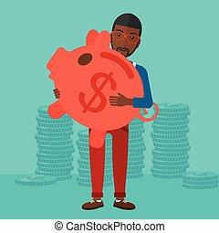 Man carrying piggy bank.