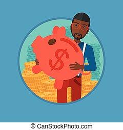 Man carrying piggy bank vector illustration.