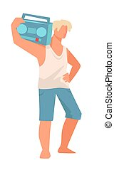 Man carrying retro magnetophone, male character in summer