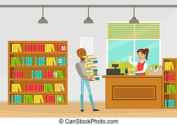 Man Carrying Stack of Books, Librarian Assisting him at Service Desk, Education, Knowledge, Studying and Literature Concept Cartoon Vector Illustration