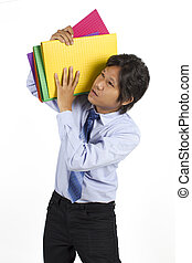 man carrying the binders