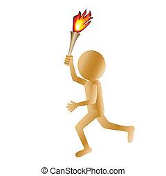 man carrying torch - illustration of a running golden 3d man...
