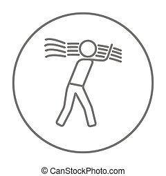 Man carrying wheat line icon. - Man carrying wheat line icon...