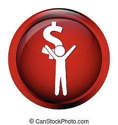 Man carrying with a money icon, dollar sign button