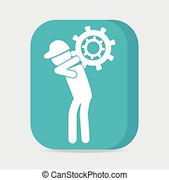 Man carrying with gear icon