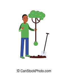 Man cartoon character planting a tree, contributing into environment preservation