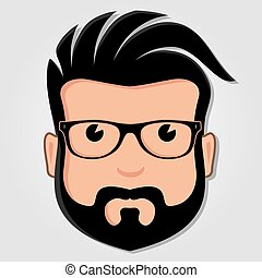 Man Cartoon Face with Glasses. Vector illustration.