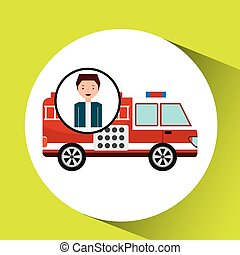 man cartoon firetruck icon graphic