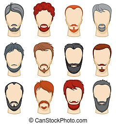 Man cartoon hairstyles vector collection