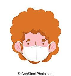 man cartoon head with mask vector design