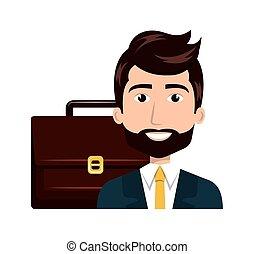 man cartoon suitcase isolated