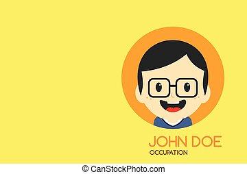 man cartoon theme business card