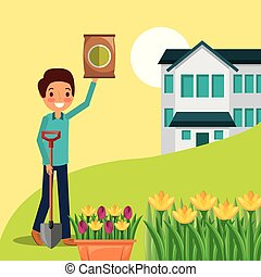 man cartoon with fertilizer and shovel house flowers garden