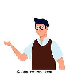 Man cartoon with glasses vector design