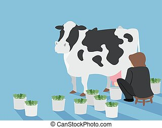 Man Cash Cow Illustration