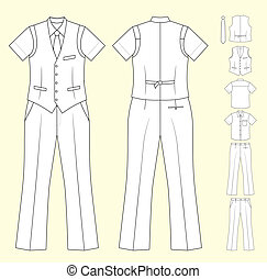 The suit of the cashier or seller (waistcoat, shirt, tie, trousers) isolated on background. EPS8 file available.