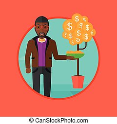 Man catching dollar coins vector illustration.