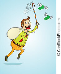 man catching flying money