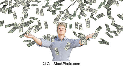 Man Catching Money Falling From the Sky in US Dollars
