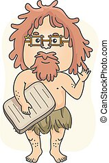 Man Caveman Historian Teacher Illustration
