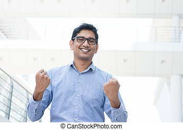 Man celebrating success