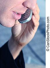 man, cellphone, tien, zakelijk