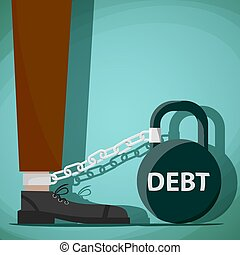 Man chained to kettlebell with the word debt. Stock Vector carto