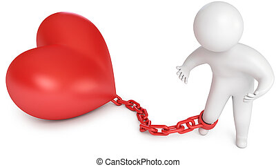 Man chained to the heart, love prisoner, marriage, 3d render