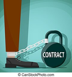 Man chained to the weight with the word contract. Stock vector i
