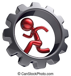 Man character businessman running inside gearwheel hard