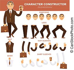 Man character constructor businessman face, suit clothes templates vector icons set