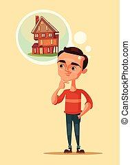 Man character dream of house. Vector flat cartoon illustration