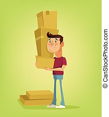 Man character hold a lot of boxes. Vector flat cartoon illustration