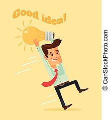 Man character hold lightbulb