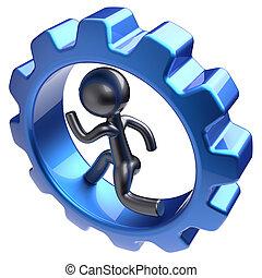 Man character human running inside gearwheel gear wheel