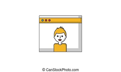 man character in website video ilustration