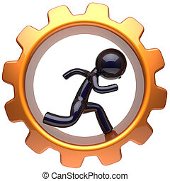 Man character inside gear wheel run businessman cogwheel