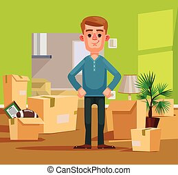 Man character moving to new house. Vector flat cartoon illustration
