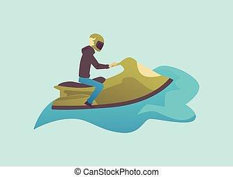 Man character on water bike or jetski vehicle flat vector ...