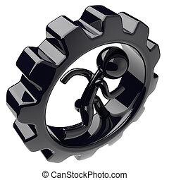 Man character runner inside black gear wheel gearwheel