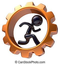 Man character running inside gear wheel businessman icon