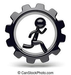 Man character running inside gearwheel business cogwheel