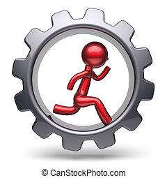 Man character running inside gearwheel businessman red