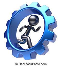 Man character running inside gearwheel businessman abstract