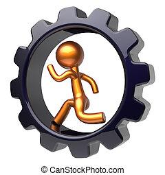 Man character running inside gearwheel businessman concept