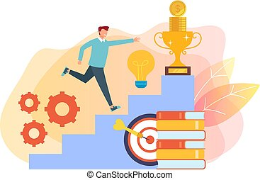 Man character running up success stairs. Success growing concept. Vector flat cartoon graphic design isolated illustration