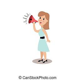 Man character shouting through loud speaker, political agitation campaign vector Illustration